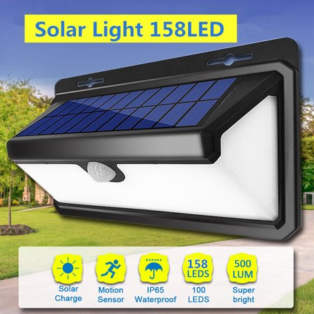 Outdoor Solar Power Wall Lights with PIR Motion Sensor,Waterproof 158 LED Super Bright Garden Security Light Wall Lamp for Driveway Patio Garden Path Fence Outdoor ()