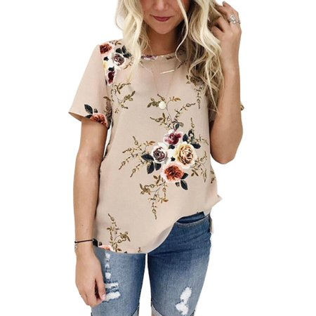 OUMY Women Short Sleeve Floral Printed Casual Blouses Tops (Printed Lantern Sleeve Shirt)
