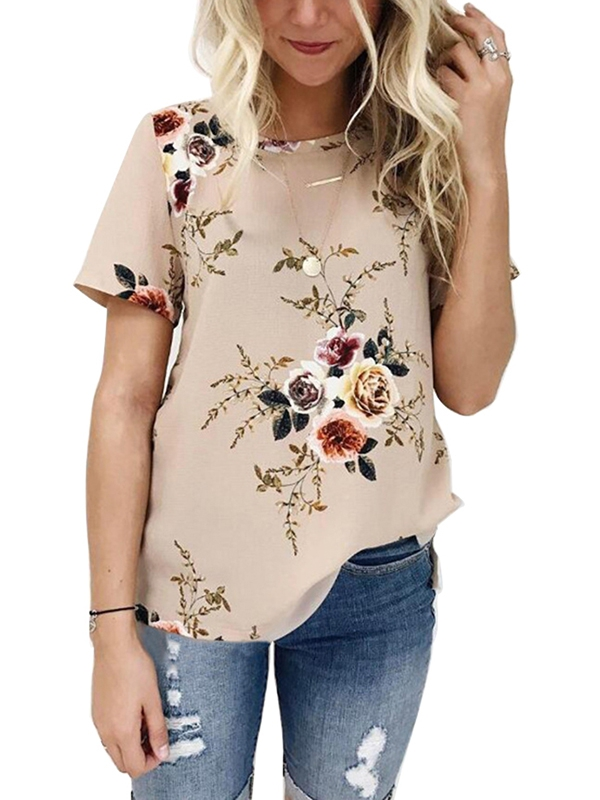 OUMY Women Short Sleeve Floral Printed Casual Blouses Tops