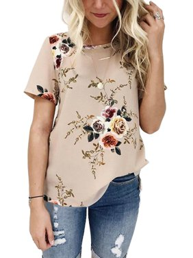 bf36ab4748 Product Image OUMY Women Short Sleeve Floral Printed Casual Blouses Tops