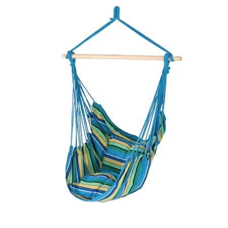 Sunnydaze Hanging Rope Hammock Chair Swing, Doubled Cushion Seat, Indoor or Outdoor Use, Ocean Breeze ()