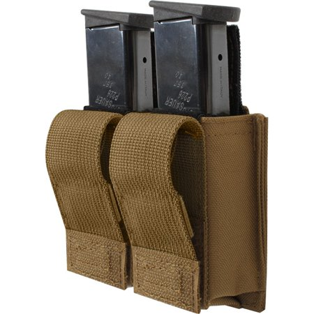 Coyote Brown - Tactical MOLLE Double 9MM Pistol Mag Pouch &
