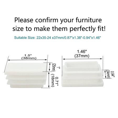 8pcs 25 x 38mm Plastic Rectangle Ribbed Tube Inserts End Cover Cap Furniture Chair Table Feet Floor Protector - image 5 de 7