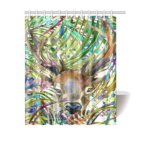 GCKG Tropical Wildlife Animal Shower Curtain, Watercolor Forest Tree Deer Polyester Fabric Shower Curtain Bathroom Sets with Hooks 60x72 Inches - image 3 de 3
