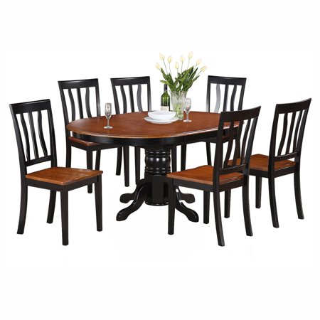piece pedestal oval dining table set with antique wooden seat chairs