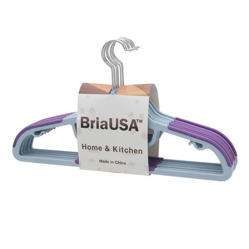 BriaUSA Dry Wet Clothes Hangers Amphibious Orange with non-slip Shoulder Design, Steel Swivel Hooks  Set of 10