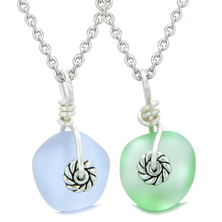 Twisted Twincies Cute Small Sea Glass Lucky Charm Love Couples BFF Set Pastel Purple Mint Green (Pastel Color Necklace)