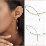Women's 18K Gold Plated Hoop Fish Hooks Earrings