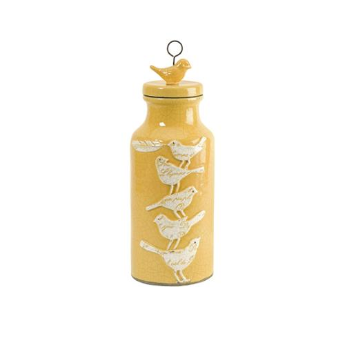 "14.5"" Bird and Feather Embossed Decorative Canary Yellow Jar with Lid"