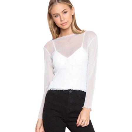 d773eec43c3 Womens Mesh Sheer See Through Long Sleeve Crop Top Ruffles T-Shirt Party  Club Blouse Tee - Walmart.com