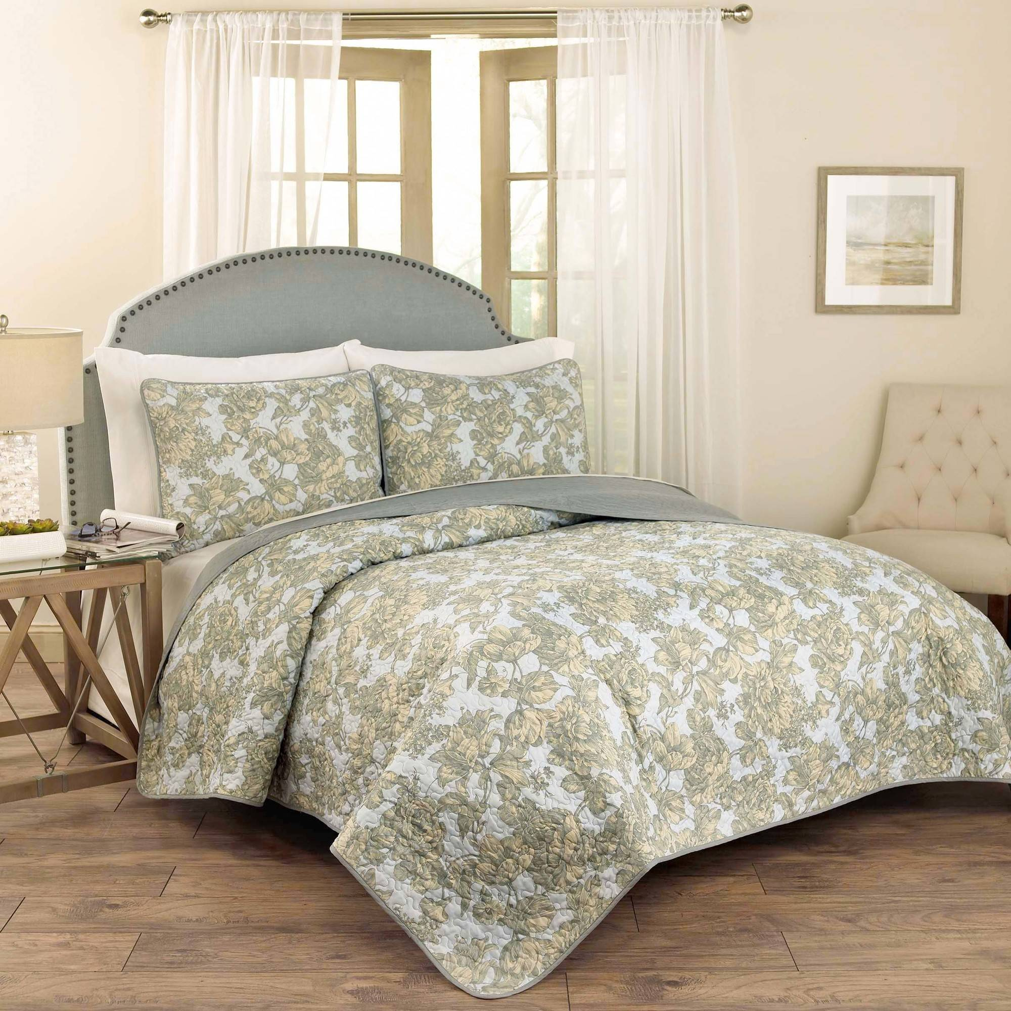 Waverly Tulip Toile Quilt Collection, 3-Piece