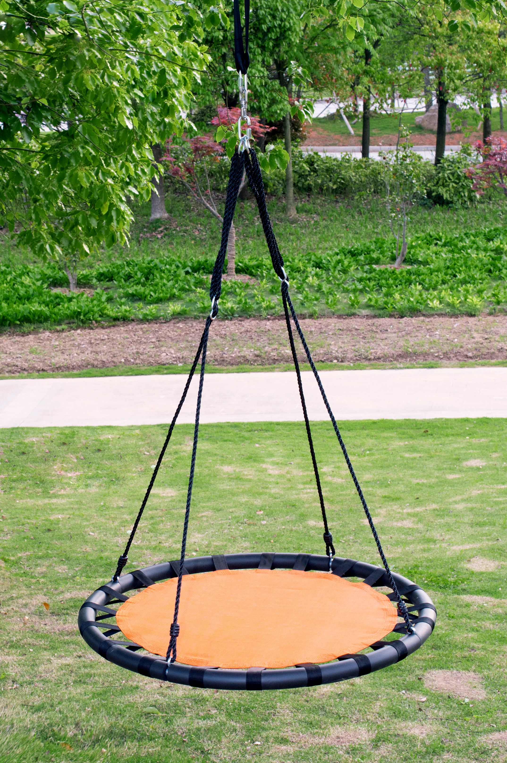 Clevr 40 Outdoor Round Target Tree Net Saucer Swing With Adjule 71 Height Rope 600 Lbs Limit Blue Orange