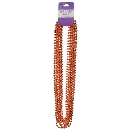 Mardi Gras Beads: 12 Smooth, Shiny Orange Bead - Orange Beaded Necklace