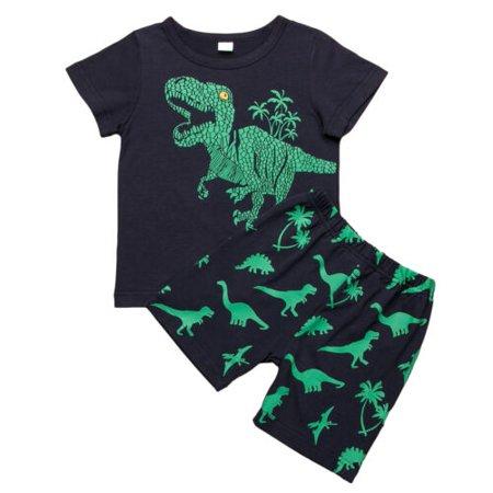 2019 2pcs Boys Kids Outfits T-Shirt Pants Shorts Set Clothes Baby Girl 2-7Y