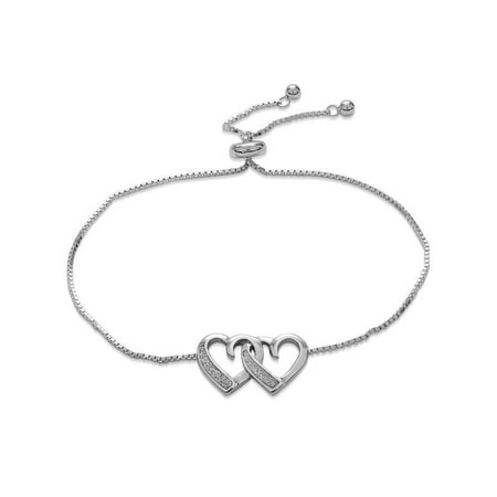 Double Heart Bracelet - Sterling Silver Rhodium Plated Double Glitter Heart Bolo Bracelet 10 Inches