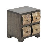 Rustic Mango Wood Curved Square Paneled 4-Drawer Jewelry Chest, Dark Brown