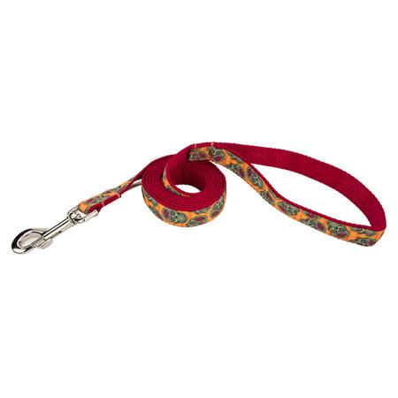 Country Brook Design® 1 Inch Sugar Skulls Ribbon Dog Leash - 4 Foot - Dog Sugar Skull