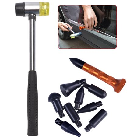 Paintless Dent Repair Tools Tap Down Kits w/ Rubber Hammer for Car Auto Body Dent Hail Damage Removal ()