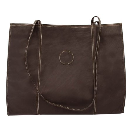 Leather Market Bag w Cellphone Pocket in Chocolate