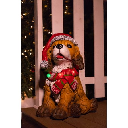Alpine Dog wearing Santa Hat & Red Scarf Statue w/ 3 LED Lights and Timer, 21 Inch Tall