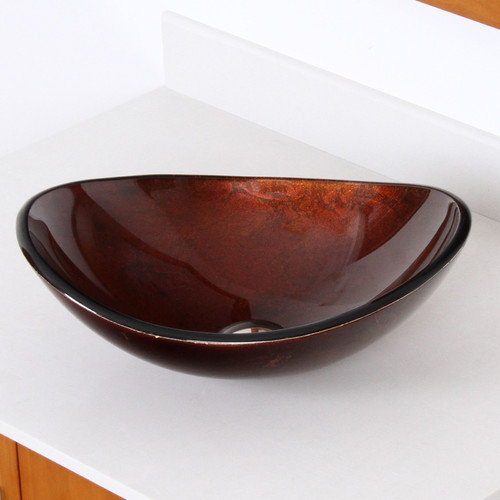 Elite Hand Painted Glass Oval Vessel Bathroom Sink