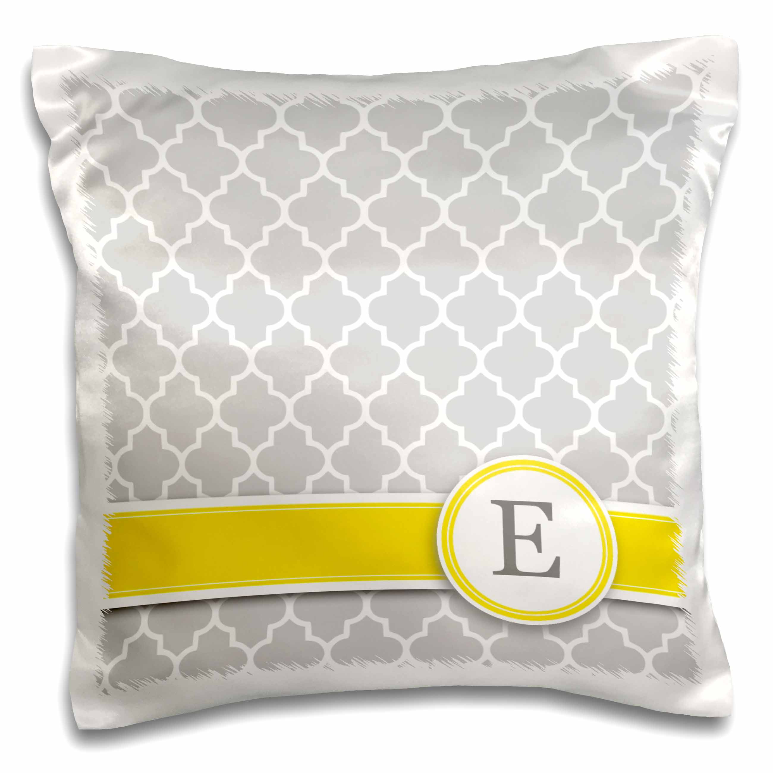 3dRose Your personal name initial letter E - monogrammed grey quatrefoil pattern - personalized yellow gray, Pillow Case, 16 by 16-inch
