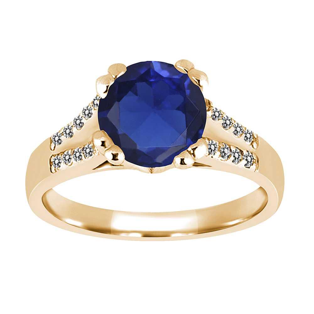 1.20 Ct Round Blue Simulated Sapphire White Sapphire 14K Yellow Gold Ring