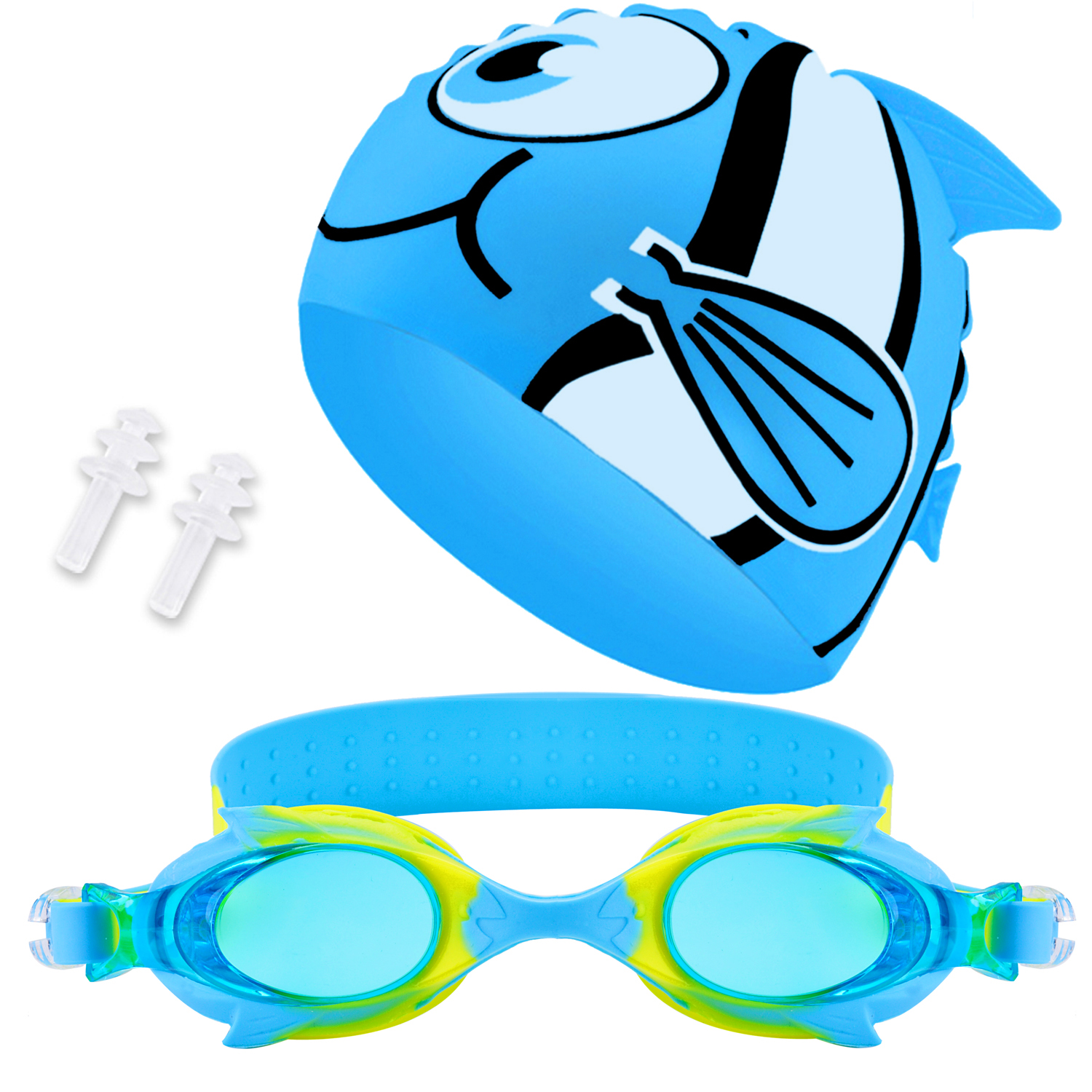 Swim Cap Swim Goggles Set, Aniwon Antifog Swimming Accessories with Ear Plugs Waterproof Swimming Cap for Kids Girls... by Aniwon