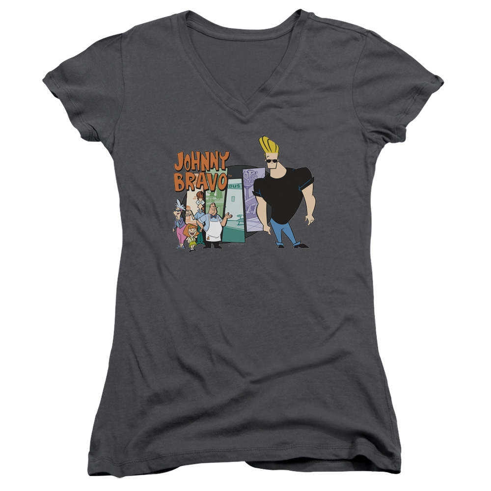 Johnny Bravo Johnny & Friends Juniors V-Neck Shirt