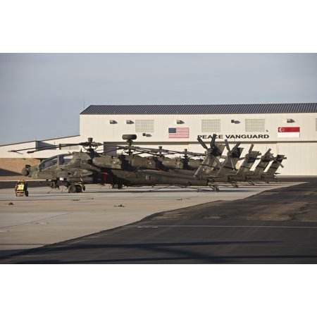 Republic Of Singapore Air Force Ah 64D Apache Longbow Helicopters At Pinal Airpark Arizona Poster Print
