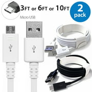 2x 3FT Afflux Micro USB Adaptive Fast Charging Cable Cord For Samsung Galaxy S7 S6 Edge S4 S3 Note 2 4 5 Grand Prime LG G3 G4 Stylo HTC M7 M8 M9 Desire 626 OnePlus 1 2 Nexus 5 6 Nokia Lumia White
