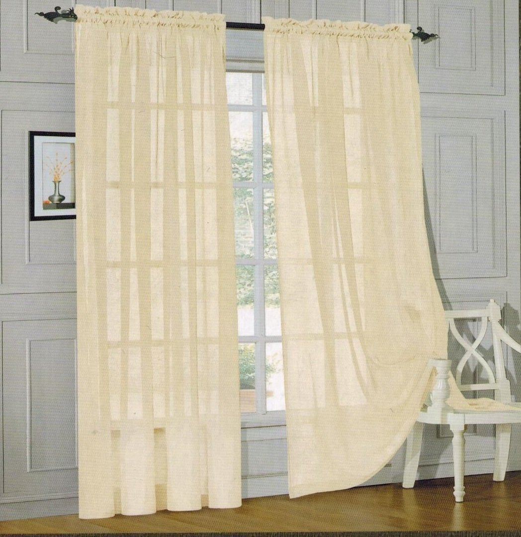 Elegant Comfort 2 Piece Solid SHEER PANEL with ROD POCKET - Window Curtain  40-inch width X 84-inch Length -  Beige