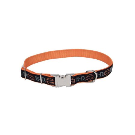 Harley-Davidson Adjustable Designer Ribbon Premium Dog Collar - Black & Orange, Harley Davidson (Harley Davidson Leather Collar)
