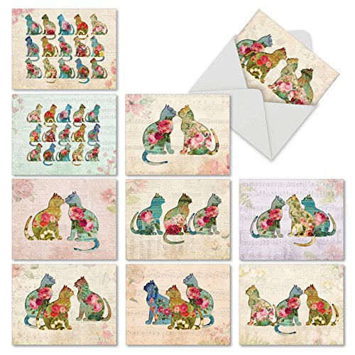 'M6452TYG CATFIGURATIONS' 10 Assorted Thank You Cards Featuring Cat Silhouettes Filled with Luscious Floral Designs with Envelopes by The Best Card Company