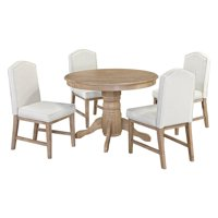 Classic 5-Piece Dining Set in White Wash Finish