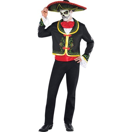 AMSCAN Day of the Dead Sombrero Senor Halloween Costume for Men, Standard, with Included (Dead Man's Finger Sandwiches Halloween)