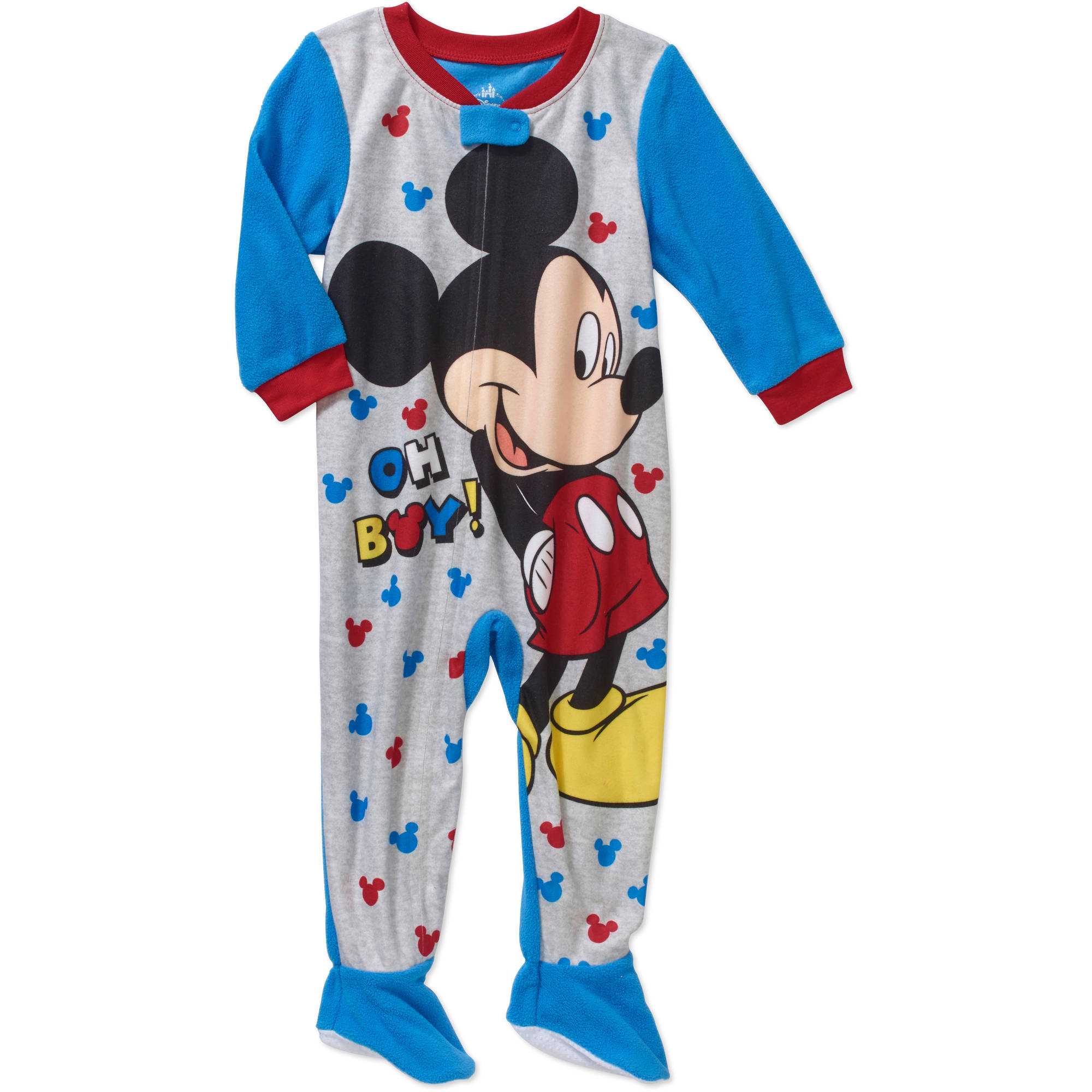 Mickey Mouse Newborn Baby Boy Oh Boy Micro Fleece Footed PJ