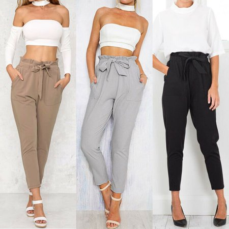 Women High Waist Elastic Harem Pants Casual Chffion OL Lady Ankle Length Capris Trouser Women Clothing Pencil Pants