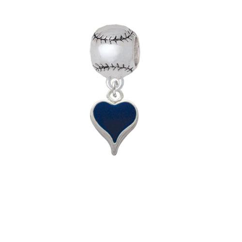 Small Long Blue Heart - Softball Charm Bead
