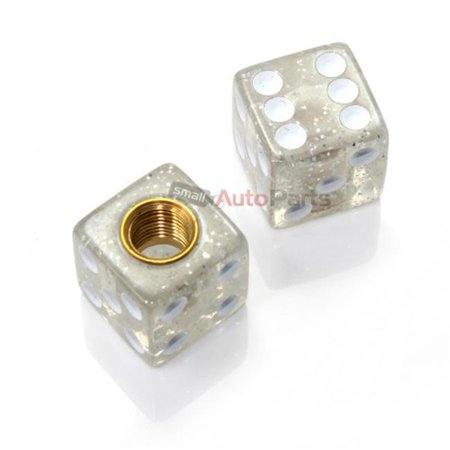 SmallAutoParts Clear Glitter Dice Valve Caps - Set Of 2](Clear Dice)