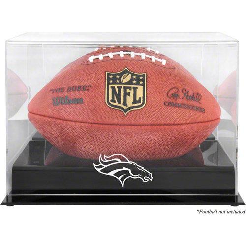 NFL - Denver Broncos Team Logo Football Display Case | Details: Black Base, Mirror Back