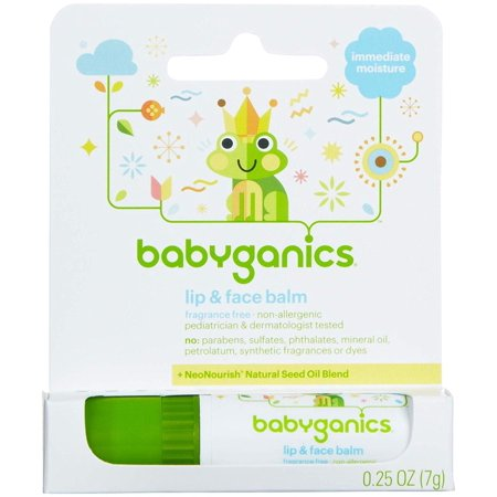 Babyganics Lip & Face Balm - 0.25 Ounce - Fragrance Free