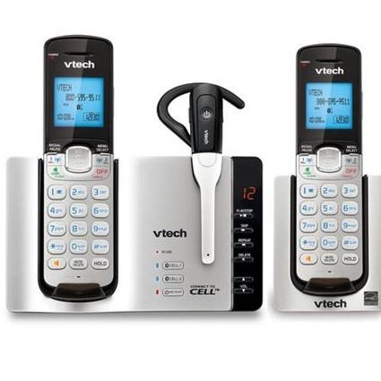 Bluetooth Digital Cordless Phone - Vtech DS6771-3 DECT 6.0 Link2Cell Expandable Digital Bluetooth Cordless Phones with Caller ID and Digital Answering System - 3 Handset Pack