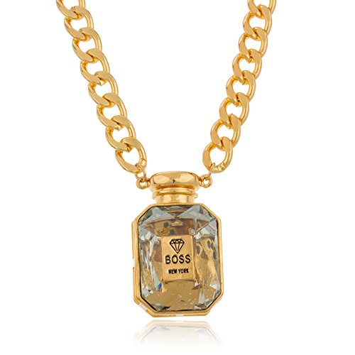 Goldtone with Clear Stone Boss Potion Perfume Bottle and 18 Inch Cuban Necklace