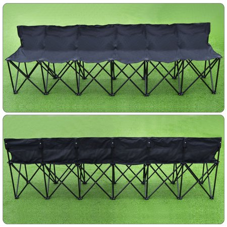 Folding Portable Team Sports Sideline Bench 6 Seater Outdoor Waterproof Carrybag Black