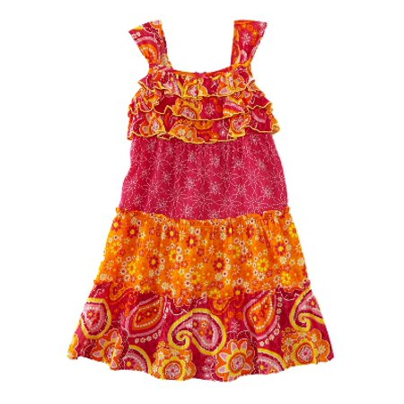 Little Girls Pink & Orange Ruffled Paisley Floral Dress Daisy Flower Sundress (Daisy Chain Dresses)