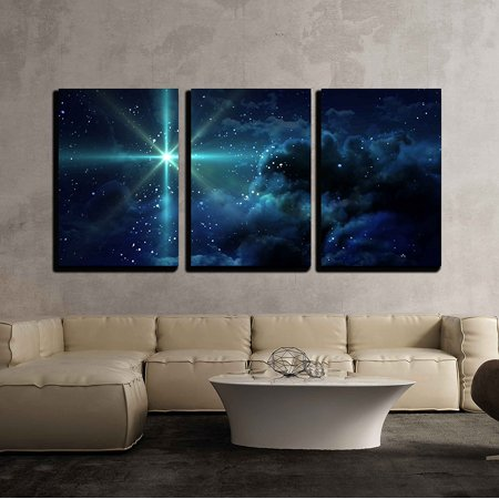 wall26 - 3 Piece Canvas Wall Art -Bright Star in Space - Modern Home Decor Stretched and Framed Ready to Hang (5 Piece Canvas Wall Art Star Wars)