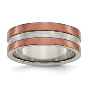 Titanium Grooved 8mm Brown IP-plated Polished w/brushed Center Band