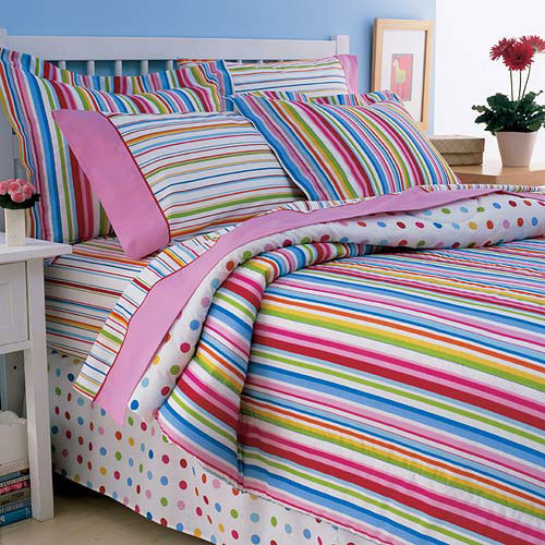Pink Multi-Stripe Bed in a Bag Bedding Set