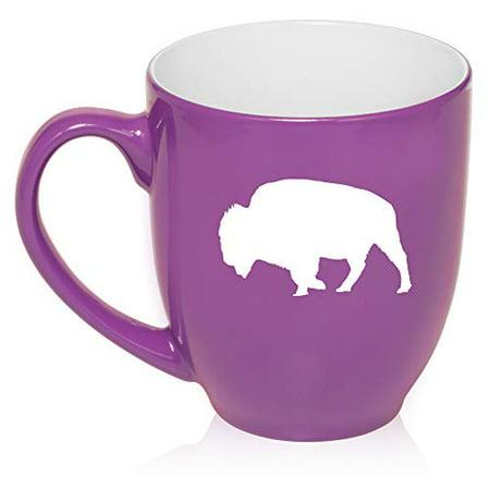 16 oz Large Bistro Mug Ceramic Coffee Tea Glass Cup Buffalo - Purple Buffalo